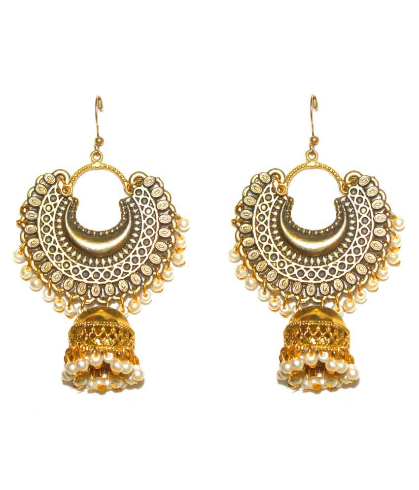 Designer white Afghani Ethnic jhumki earrings by AMMAJI FASHION