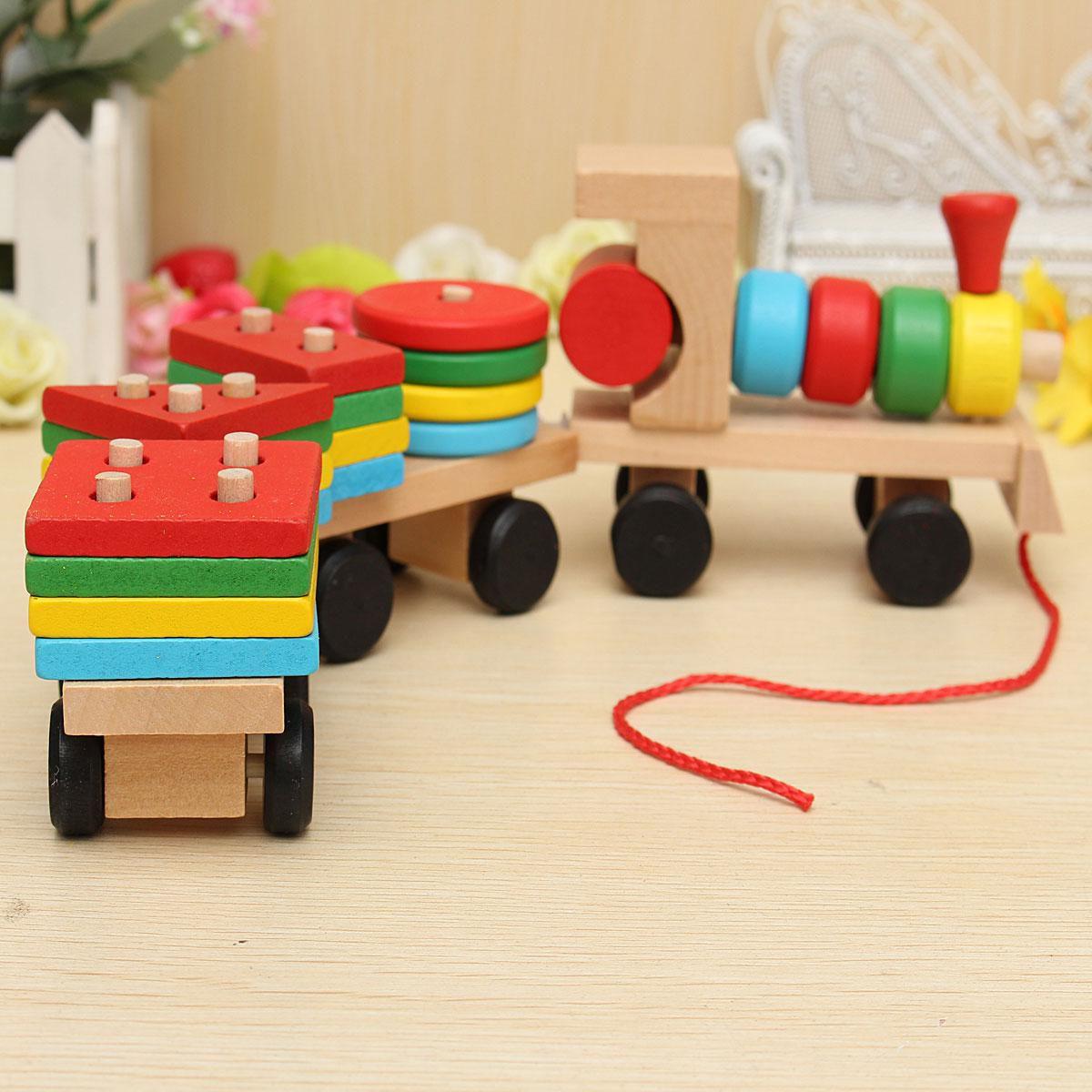 Toy Fun Vehicle Block Board Game Toy Toddler Baby Wooden Stacking Train Block