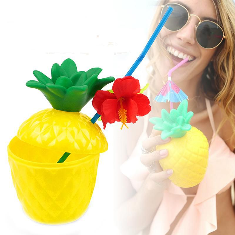 6 Pcs Plastic Cup Fruit Shape Drink Cups Pineapple Cup Camping Portable Drink Containers
