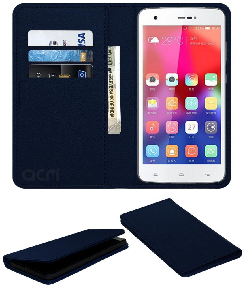 Gionee CTRL V6L Flip Cover by ACM - Blue Wallet Case,Can store 3 Card/Cash