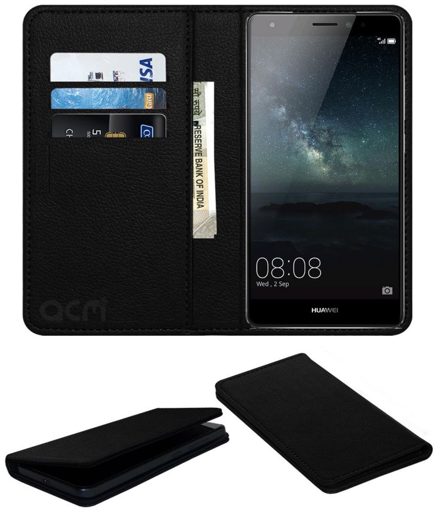 Huawei Mate S Flip Cover by ACM - Black Wallet Case,Can store 3 Card/Cash