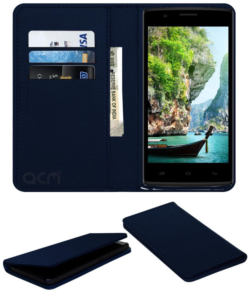 Karbonn Titanium S203 Flip Cover by ACM - Blue Wallet Case,Can store 3 Card/Cash