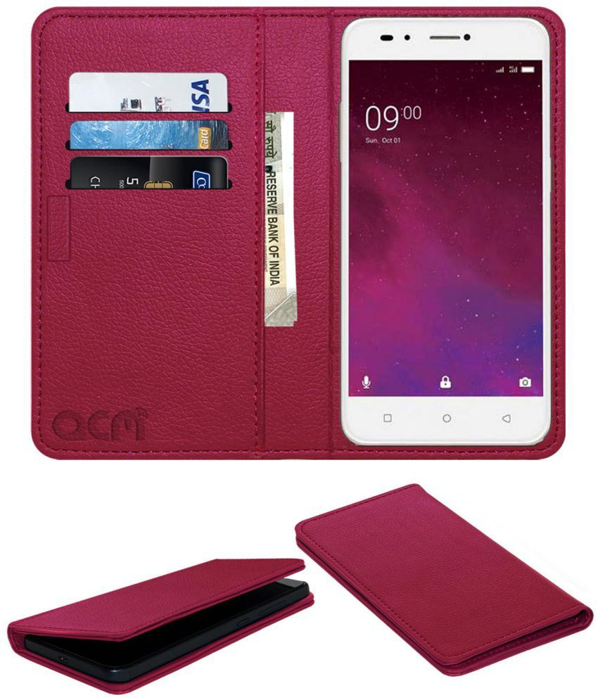 newest 41772 86507 Lava Z60 Flip Cover by ACM - Pink Wallet Case,Can store 3 Card/Cash