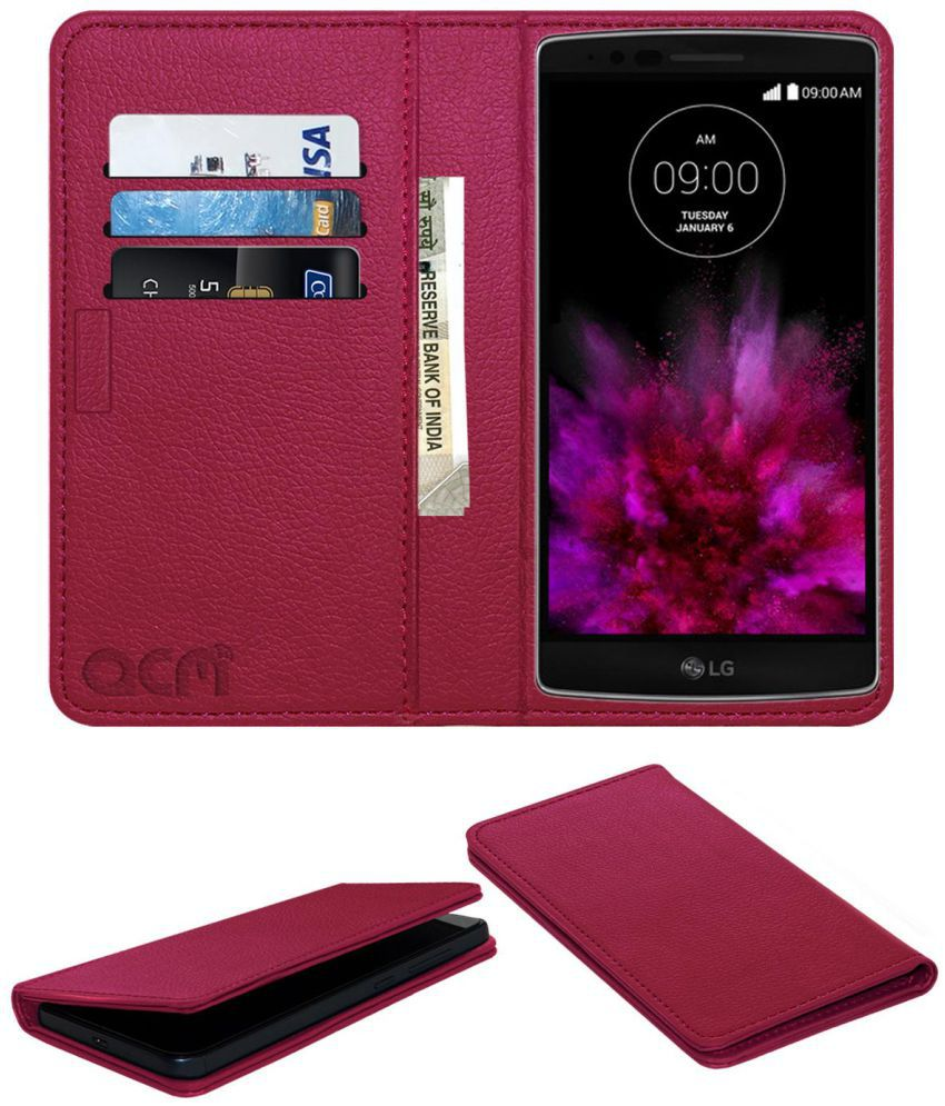 Lg G Flex 2 Flip Cover by ACM - Pink Wallet Case,Can store 3 Card/Cash