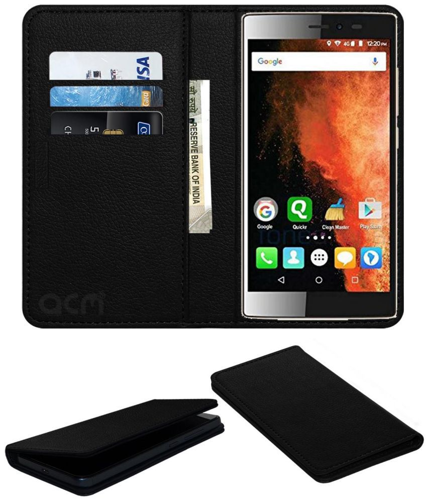 Micromax Canvas 6 E485 Flip Cover by ACM - Black Wallet Case,Can store 3 Card/Cash