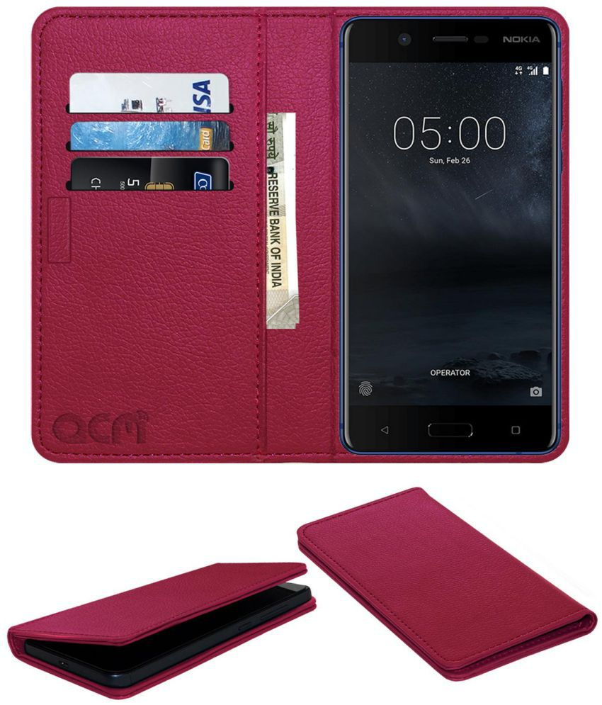 quality design 4ed34 7076d Nokia 5 Flip Cover by ACM - Pink Wallet Case,Can store 3 Card/Cash
