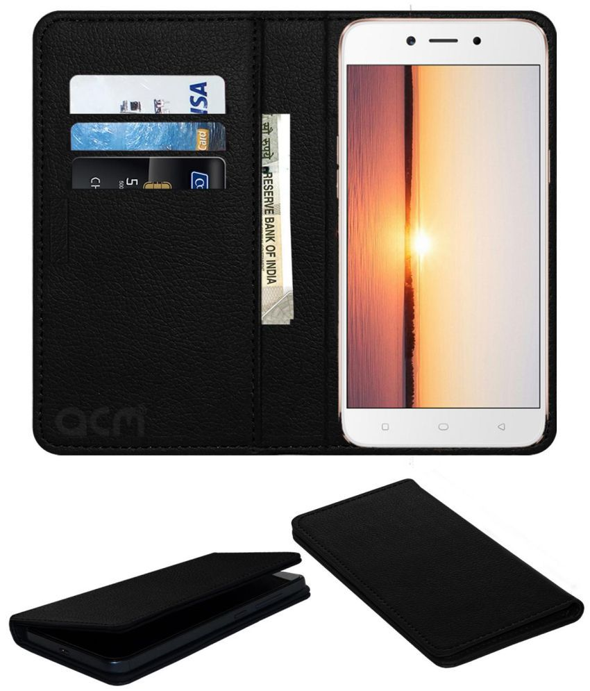 the best attitude 47ebf 79403 OPPO A71 (2018) Flip Cover by ACM - Black Wallet Case,Can store 3 Card/Cash