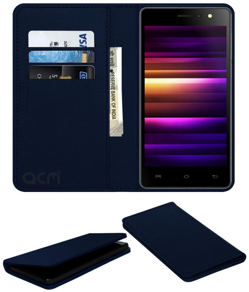 the best attitude 53b3b 9ca86 Xolo Era 4G Flip Cover by ACM - Blue Wallet Case,Can store 3 Card/Cash