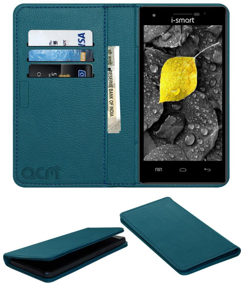 I-SMART IS-57 MERCURY V4 Flip Cover by ACM - Blue Wallet Case,Can store 3 Card/Cash