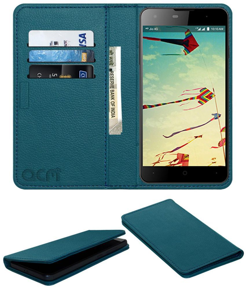 LYF Wind 1 Flip Cover by ACM - Blue Wallet Case,Can store 3 Card/Cash