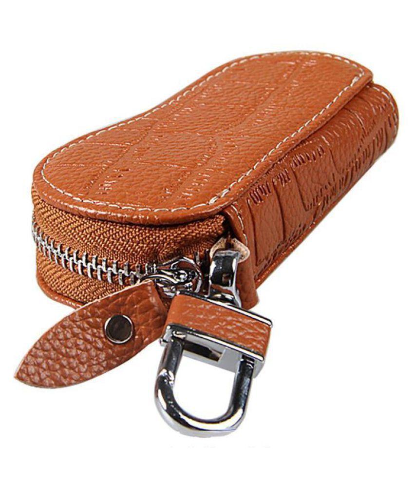 Leather Key Wallets Unisex Zipper Key Bag Car Keychain Buckle Case Wrench Holder Black Blue