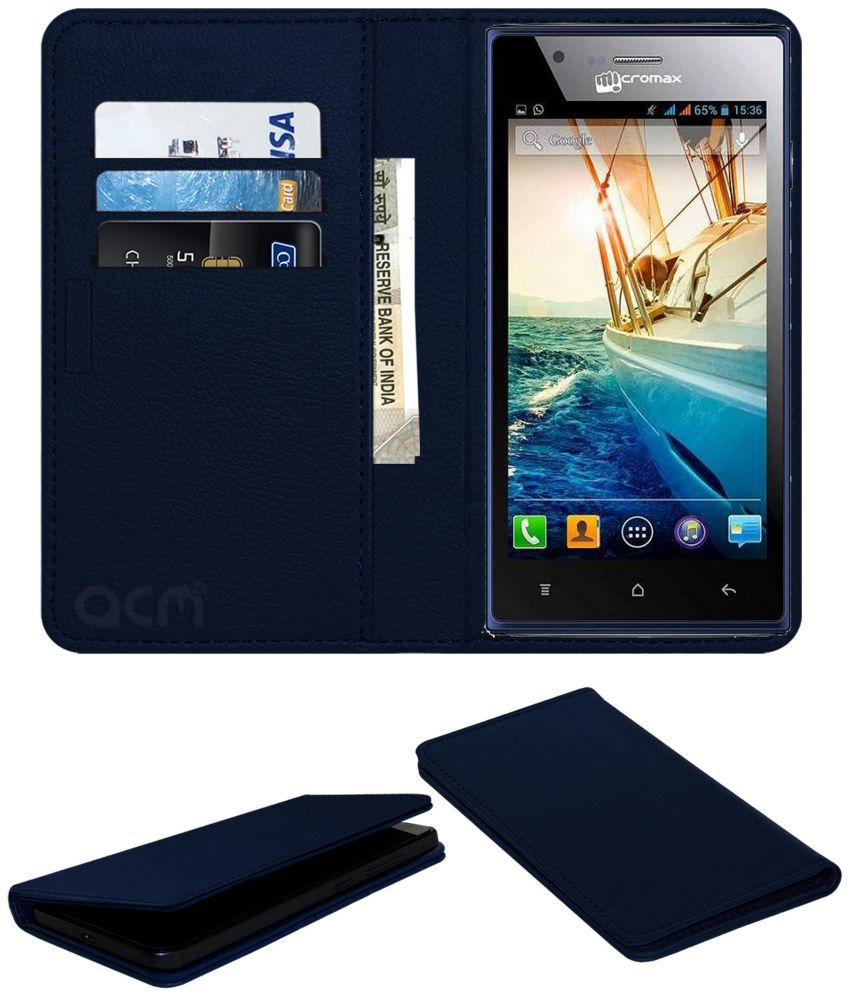 Micromax bolt A075 Flip Cover by ACM - Blue Wallet Case,Can store 3 Card/Cash