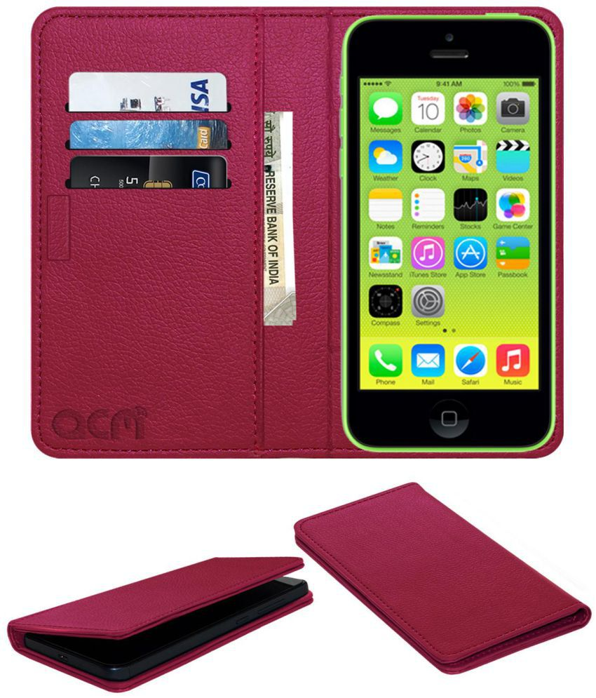 Apple iPhone 5C Flip Cover by ACM - Pink Wallet Case,Can store 3 Card/Cash