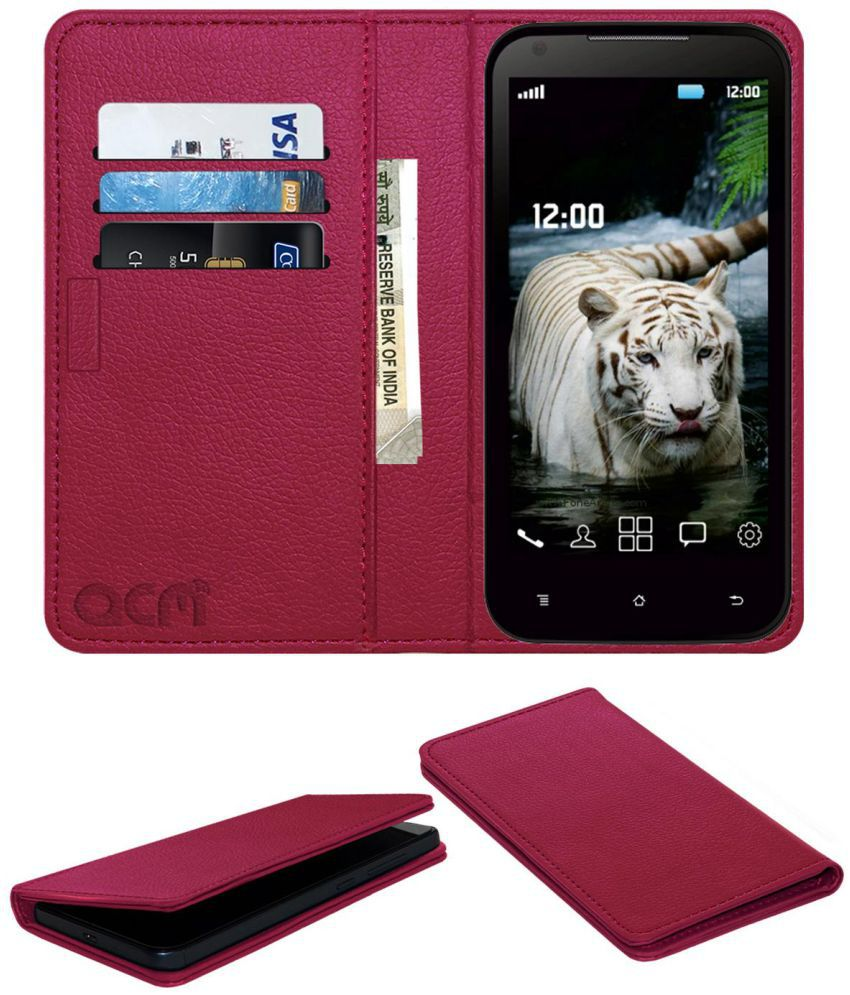 Fly F40 Flip Cover by ACM - Pink Wallet Case,Can store 3 Card/Cash