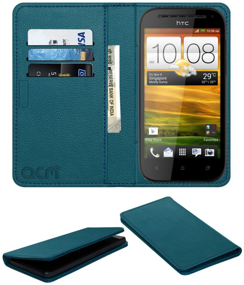 Htc One Sv Flip Cover by ACM - Blue Wallet Case,Can store 3 Card/Cash