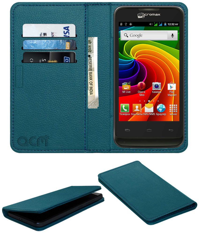 Micromax A36 Flip Cover by ACM - Blue Wallet Case,Can store 3 Card/Cash