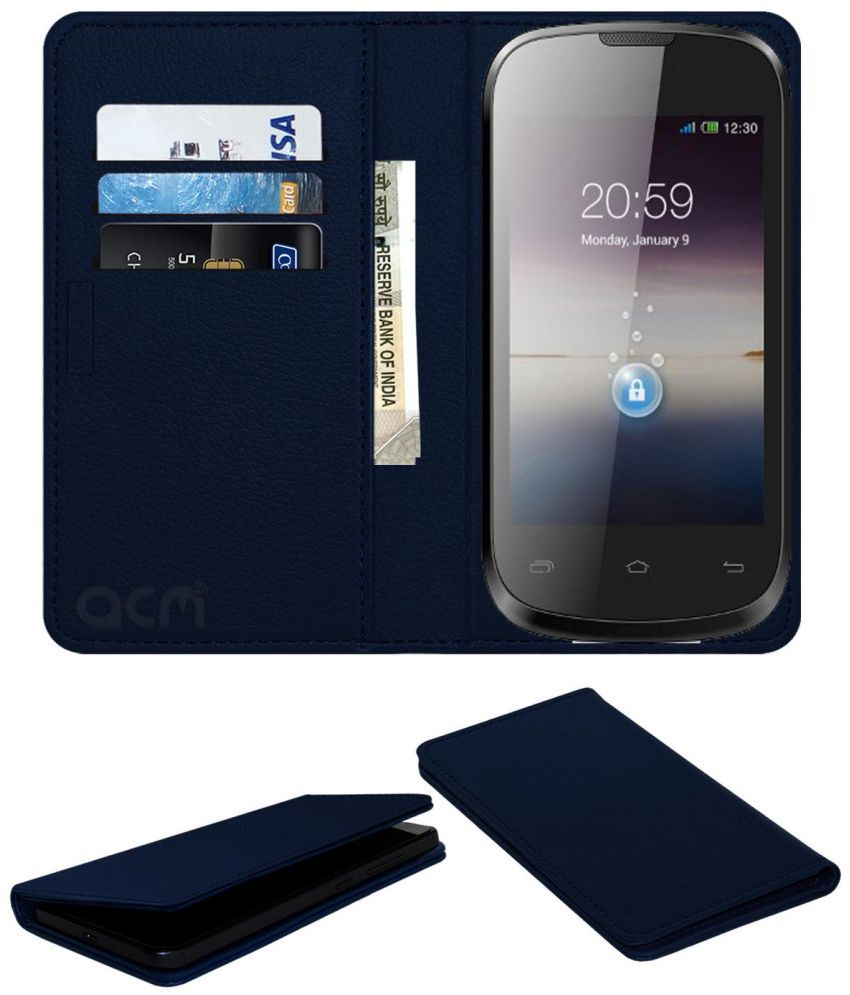 Spice Stellar Xtacy Mi-352 Flip Cover by ACM - Blue Wallet Case,Can store 3 Card/Cash