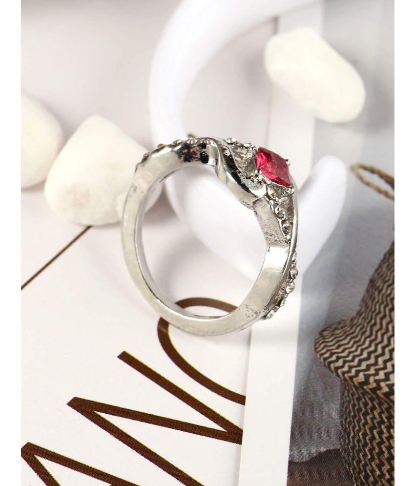 Women Fashion Alloy Hollow Geometric Shape Rhinestone Ring