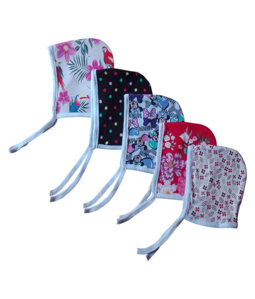 Baby Comforts printed cotton multi color winter wear double layer Cap, Topa for 0-6 Months (pack of 5)