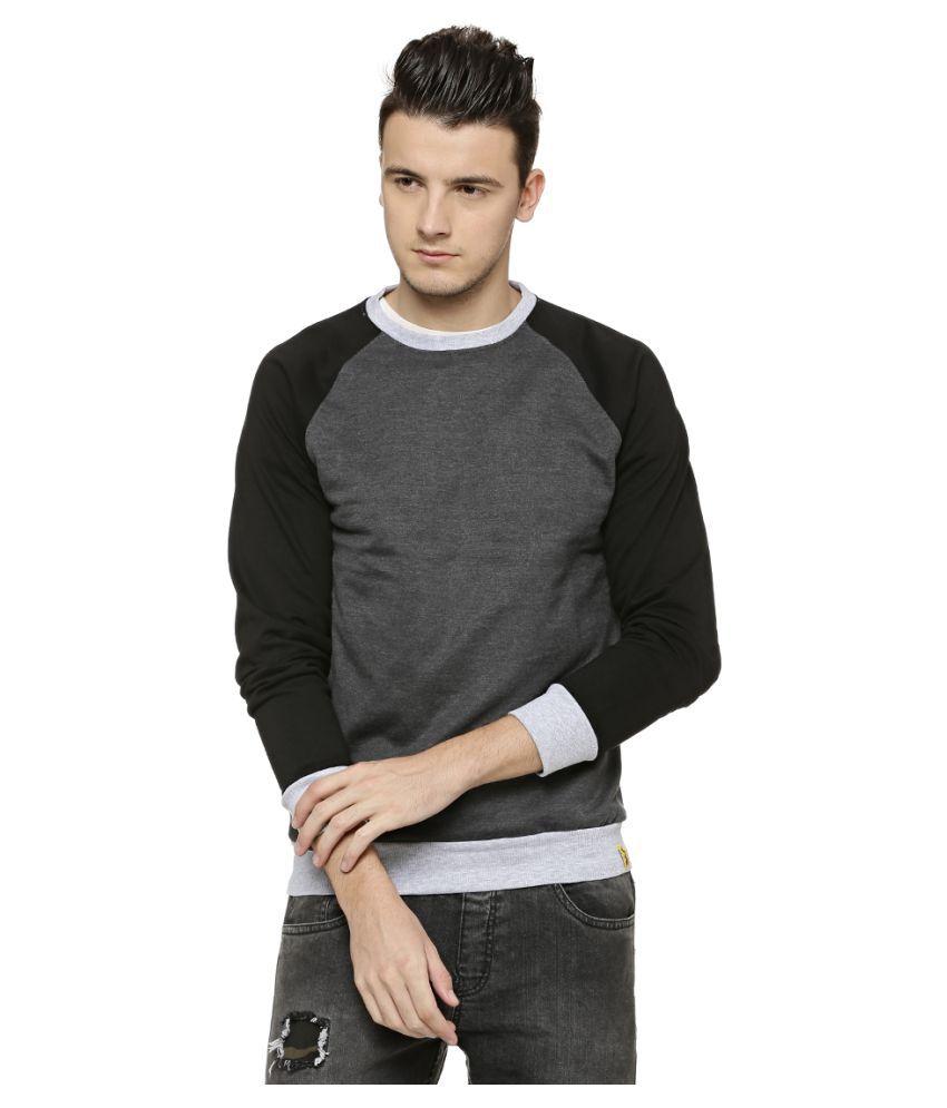 Campus Sutra Grey Round Sweatshirt