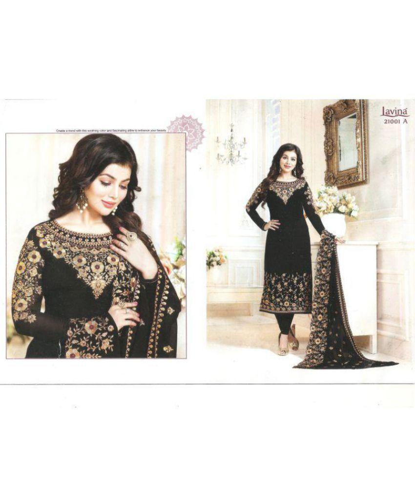 2955f5771b Lavina Black Georgette Straight Semi-Stitched Suit - Buy Lavina ...