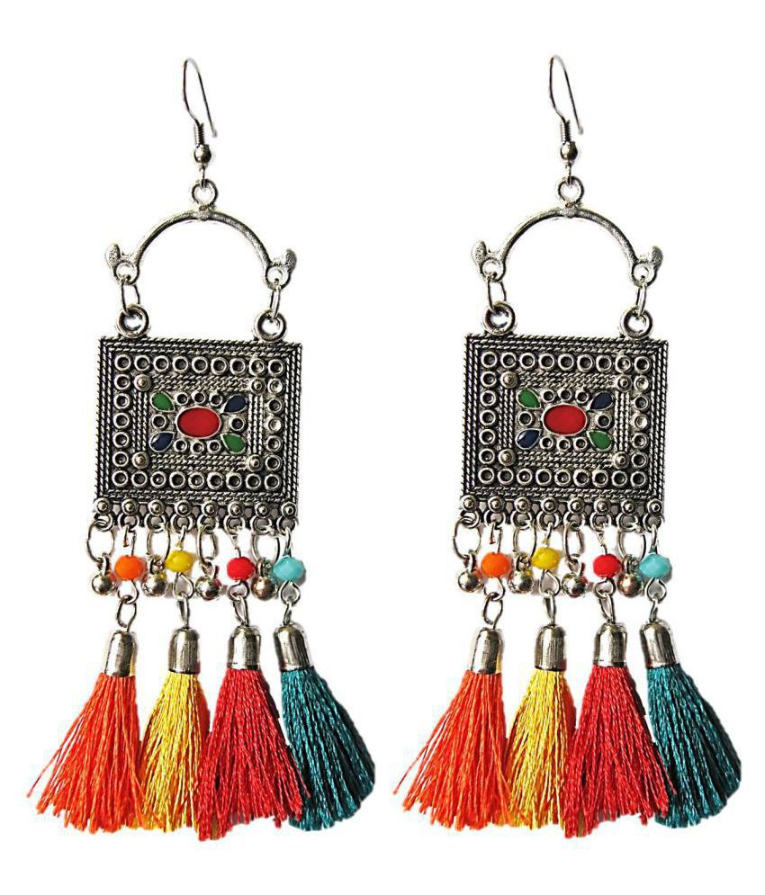 402a8c969dae96 Muccasacra Unique Rectangular Trendy Multi-colour Oxidized Silver Fabric,  Sterling Silver, German Silver Tassel Earring, Dangle Earring - Buy  Muccasacra ...