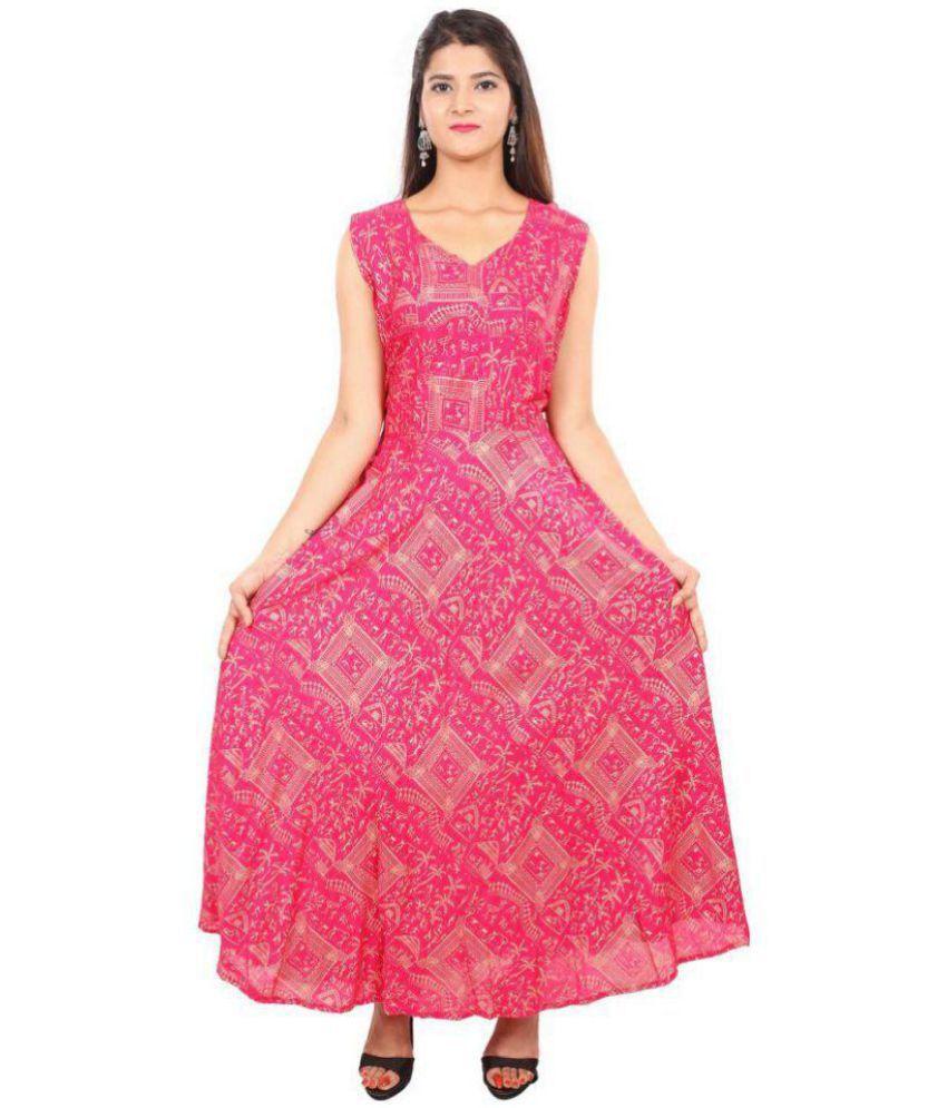 Dhruvi Rayon Pink A- line Dress