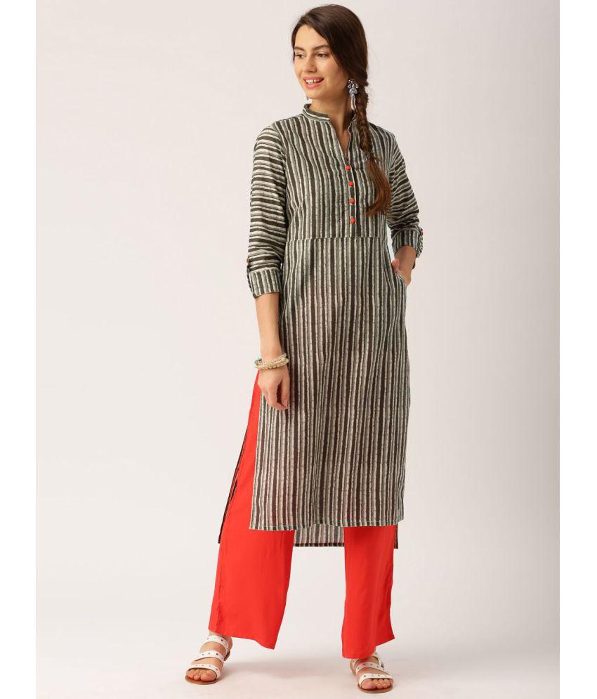 Jaipur Kurti Grey Cotton Straight Stitched Suit