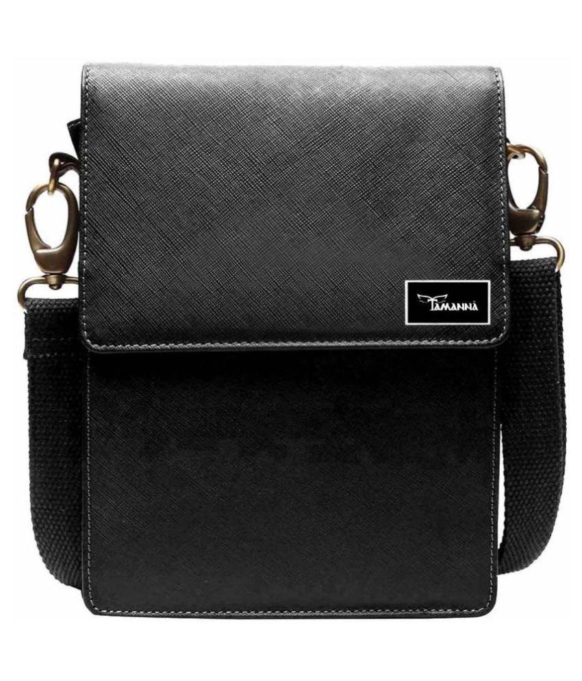 Tamanna LSBU5-TM_8 Black Leather Casual Messenger Bag