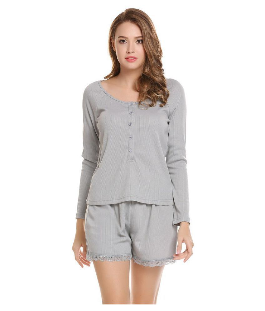 Generic Lace Nightsuit Sets - Silver