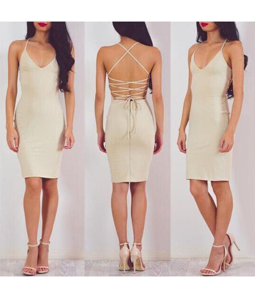 Generic Cotton Multi Color Bodycon Dress