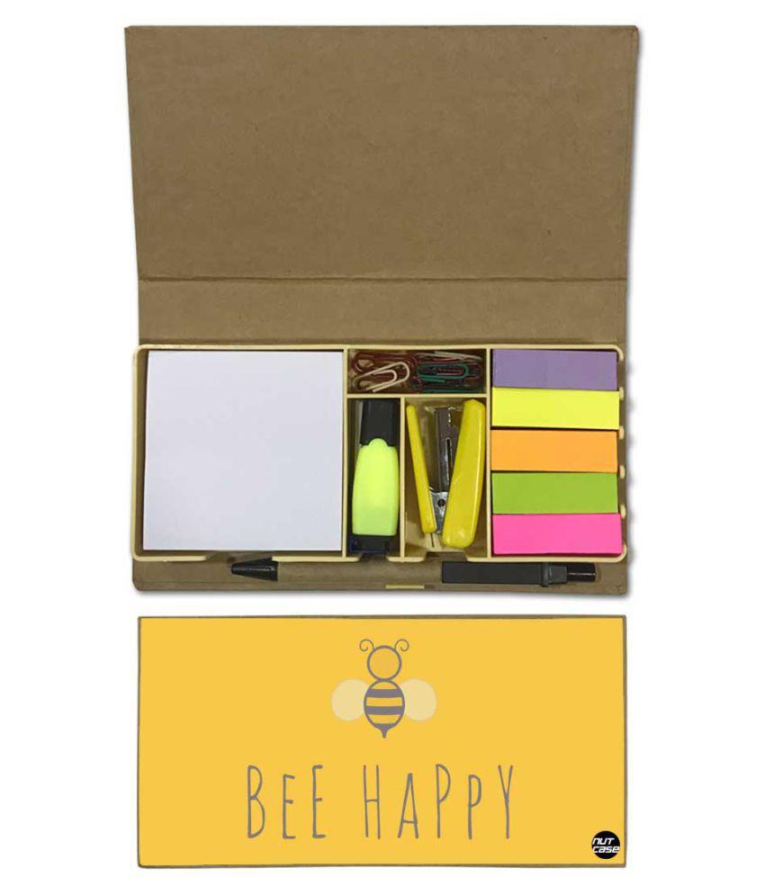 Nutcase Designer Stationary Kit Desk Customised Organizer Memo Notepad - Bee Happy