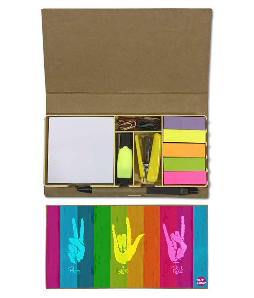 Nutcase Designer Stationary Kit Desk Customised Organizer Memo Notepad - Peace Love Rock