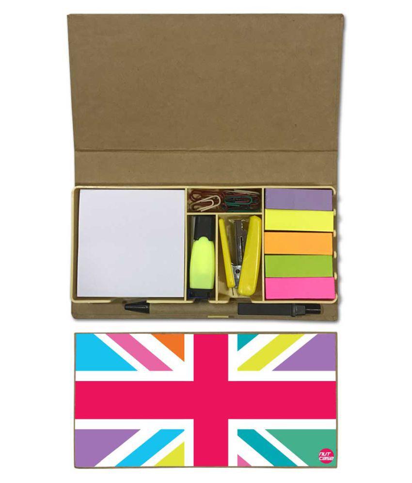 Nutcase Designer Stationary Kit Desk Customised Organizer Memo Notepad - Designer Flag