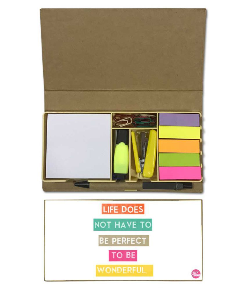 Nutcase Designer Stationary Kit Desk Customised Organizer Memo Notepad - Life Does Not Have To Be Perfect