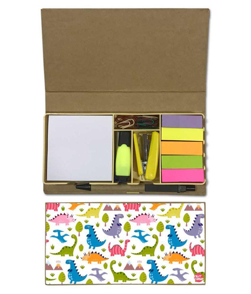 Nutcase Designer Stationary Kit Desk Customised Organizer Memo Notepad - Cut Dinosaur