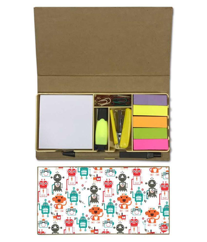 Nutcase Designer Stationary Kit Desk Customised Organizer Memo Notepad - Robots