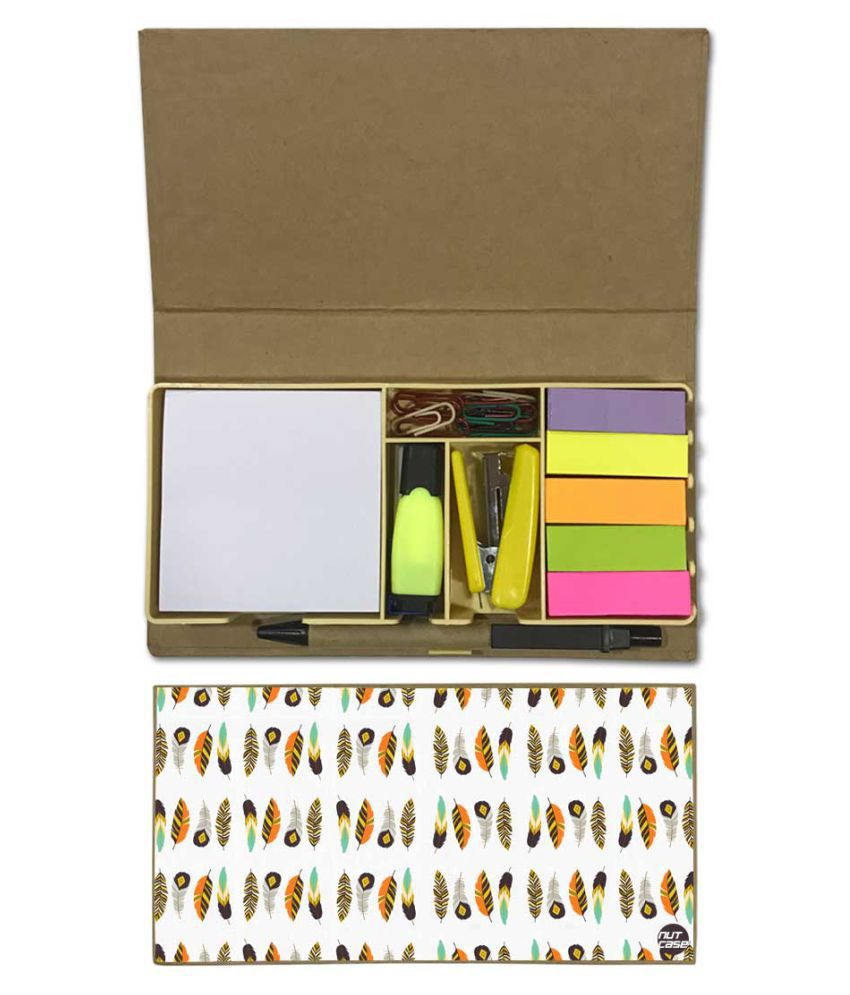 Nutcase Designer Stationary Kit Desk Customised Organizer Memo Notepad - feather