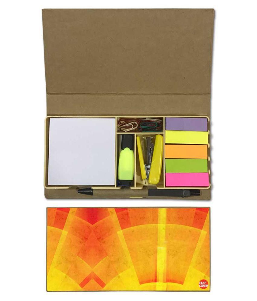 Nutcase Designer Stationary Kit Desk Customised Organizer Memo Notepad - Yellow And Orange