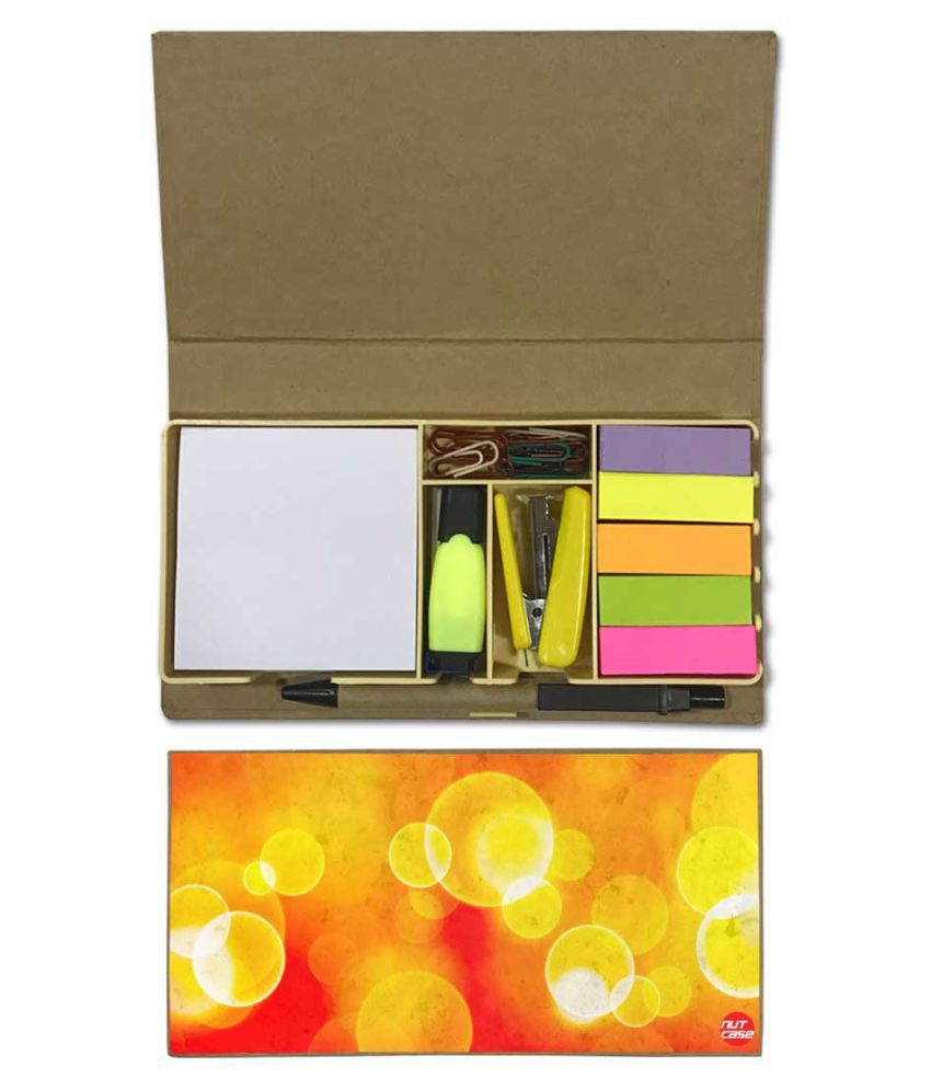 Nutcase Designer Stationary Kit Desk Customised Organizer Memo Notepad - Yellow Circle