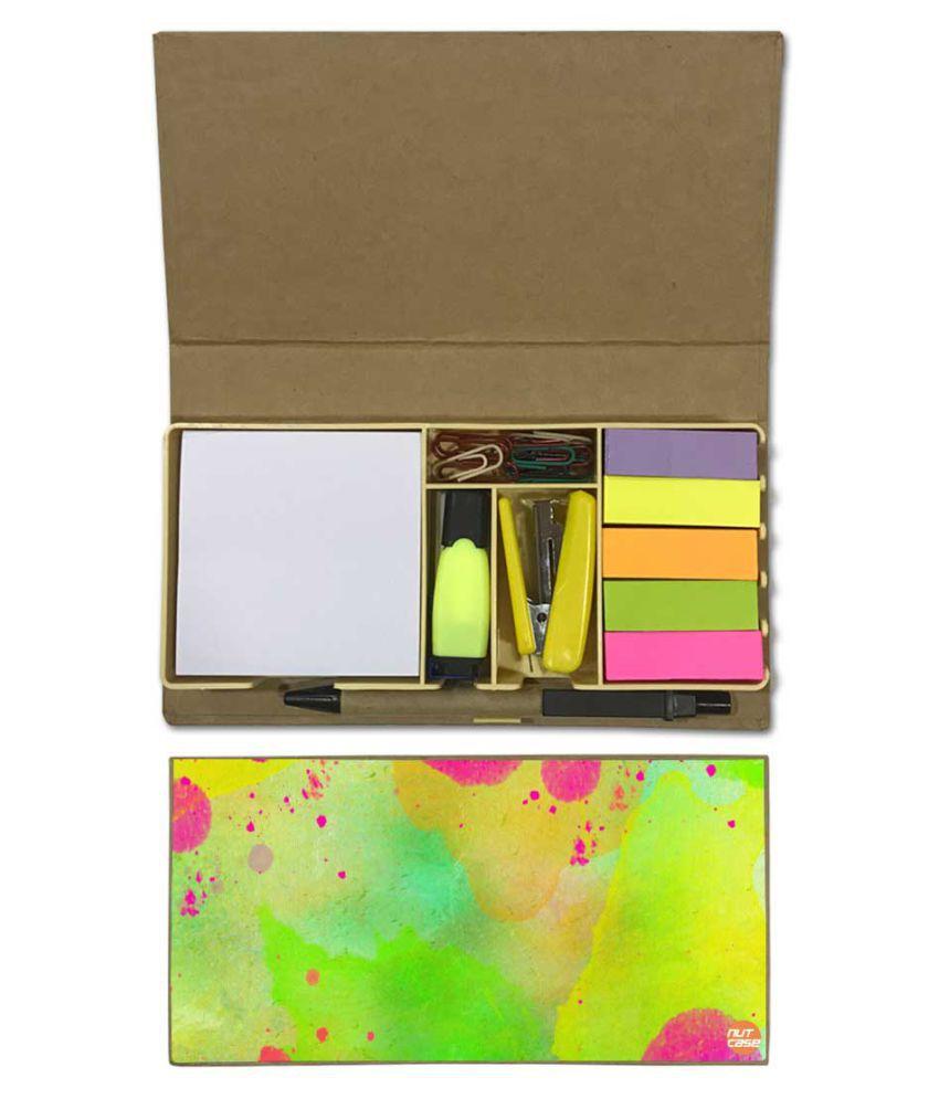 Nutcase Designer Stationary Kit Desk Customised Organizer Memo Notepad - Green Watercolor