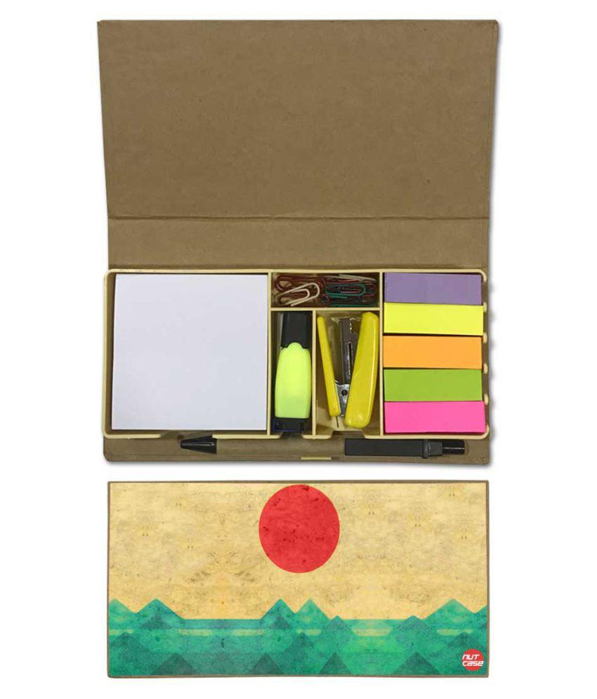 Nutcase Designer Stationary Kit Desk Customised Organizer Memo Notepad - Sun Set