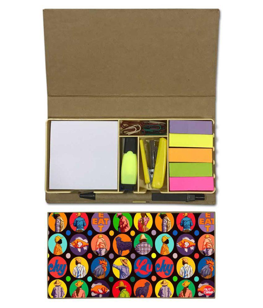 Nutcase Designer Stationary Kit Desk Customised Organizer Memo Notepad - Lucky