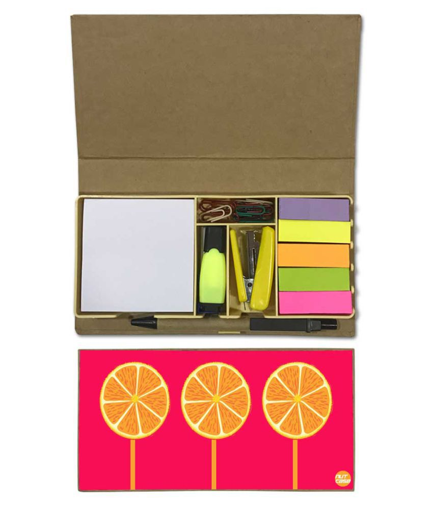 Nutcase Designer Stationary Kit Desk Customised Organizer Memo Notepad - Orange Lemons