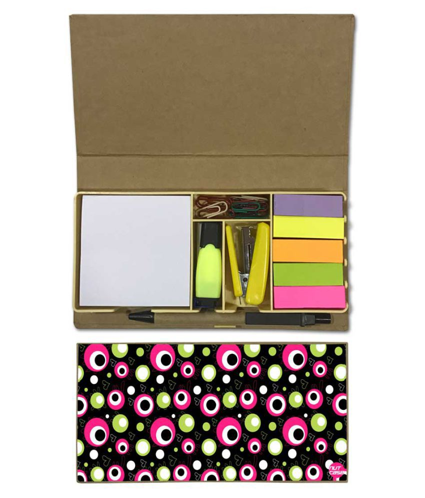 Nutcase Designer Stationary Kit Desk Customised Organizer Memo Notepad - Colored Dots