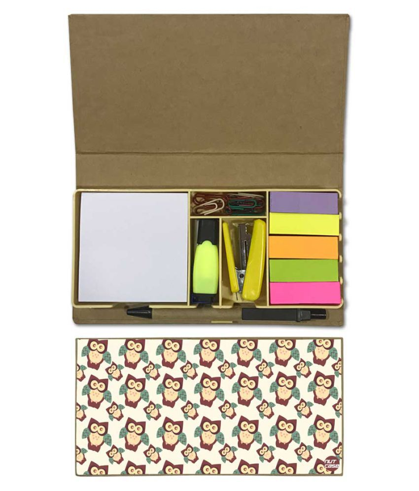 Nutcase Designer Stationary Kit Desk Customised Organizer Memo Notepad - Owl