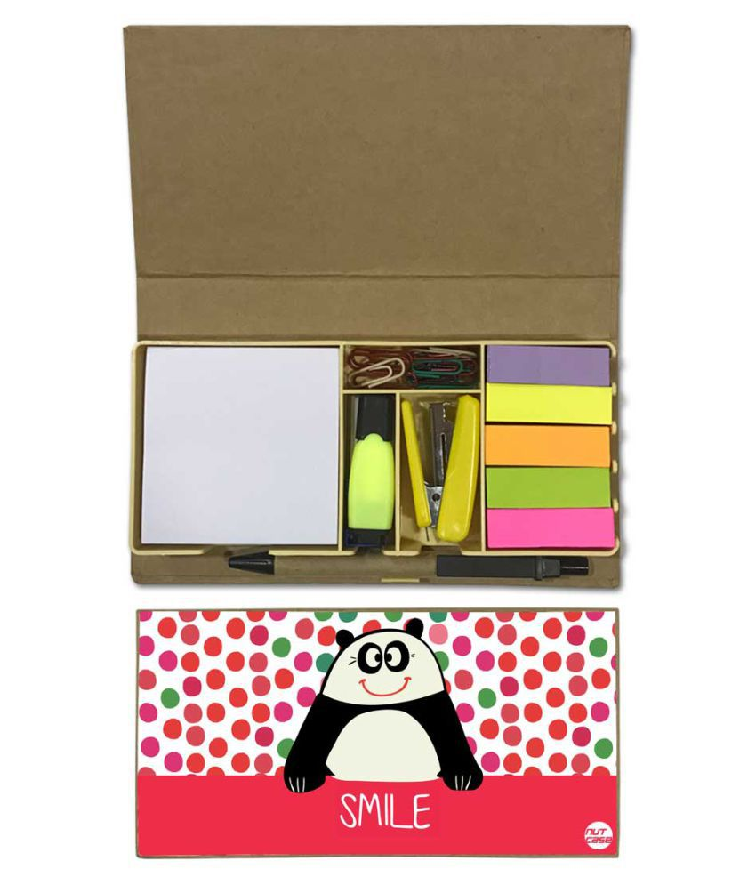Nutcase Designer Stationary Kit Desk Customised Organizer Memo Notepad - Cute Panda
