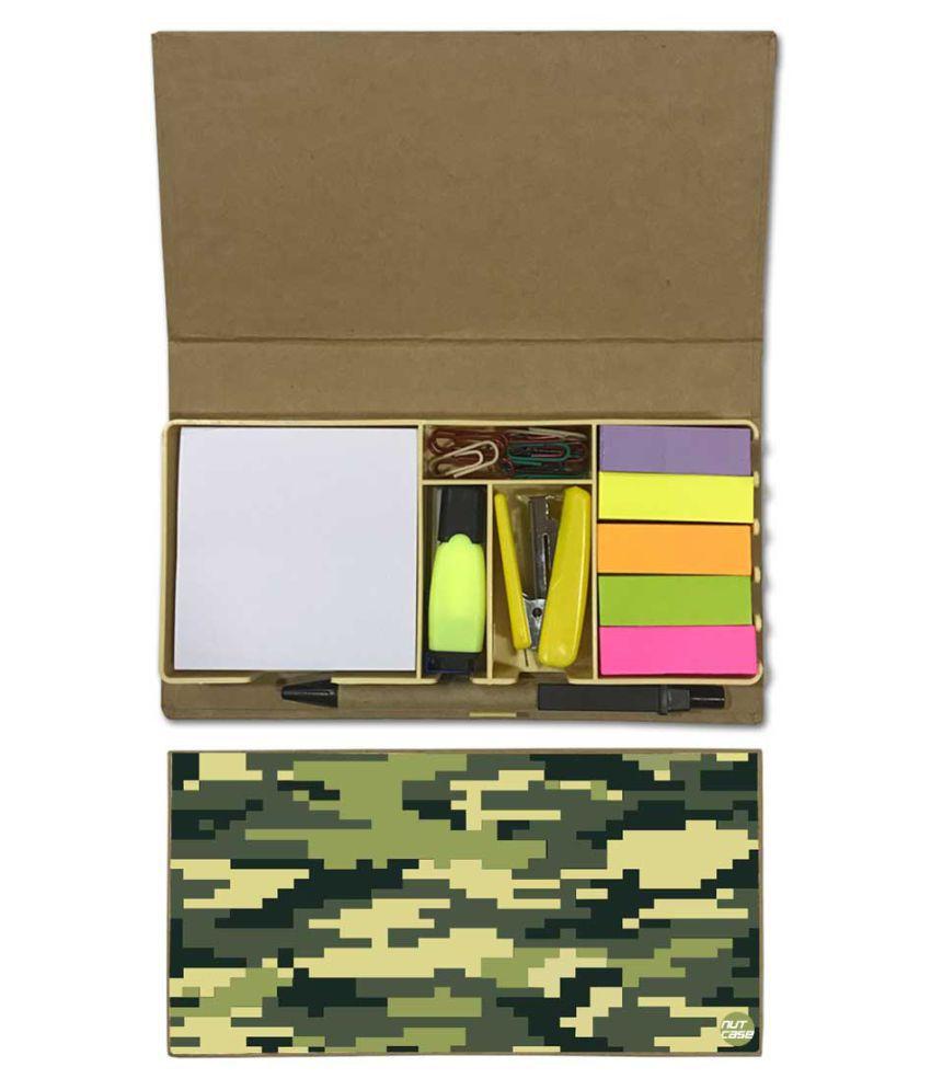 Nutcase Designer Stationary Kit Desk Customised Organizer Memo Notepad - Green Army