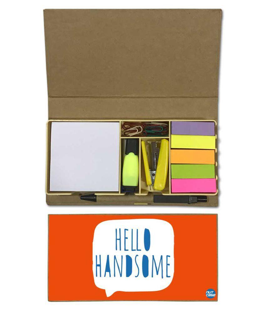 Nutcase Designer Stationary Kit Desk Customised Organizer Memo Notepad - Hello Handsome