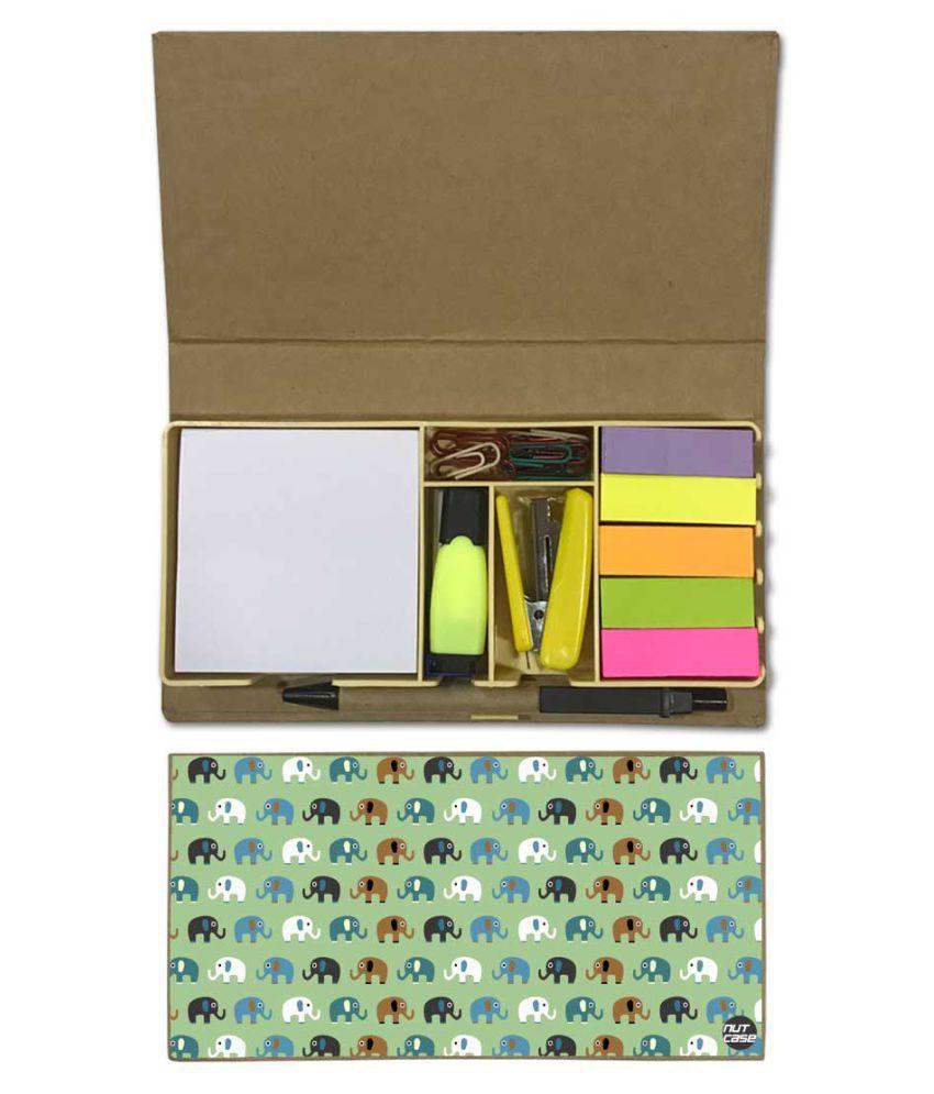 Nutcase Designer Stationary Kit Desk Customised Organizer Memo Notepad - Mini Elephant